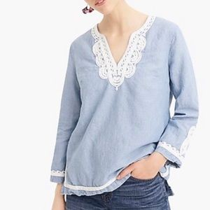 Point Sur Chambray Embroidered Tunic Sz M